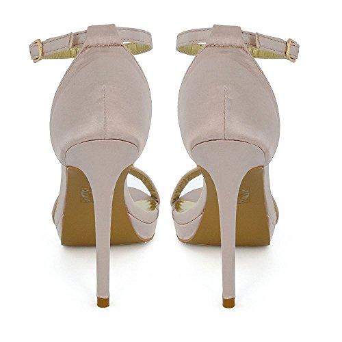 ESSEX GLAM  Platform Barely There Heels, Bride de cheville femme Champagne Satin