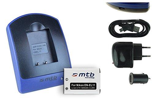 Akku + Ladegerät (Netz+Kfz+USB) für Nikon EN-EL11, Coolpix S550 S560 / Olympus Li-60B / Pentax D-Li78 / Ricoh DB-80 / Sanyo DB-L70... Kameras s. Liste 60b Bundle