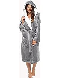 Best Deals Direct Ladies Insignia® Hooded Shimmer Fleece Dressing Gown Robe Winter Warm