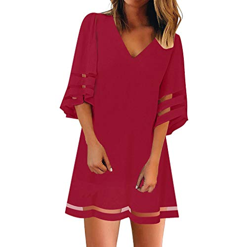 Damen Sommerkleid, Frauen V Ausschnitt Mesh Panel Bluse 3/4 Bell Sleeve Loose Top Shirt Kleid - Panel V-ausschnitt Kleid