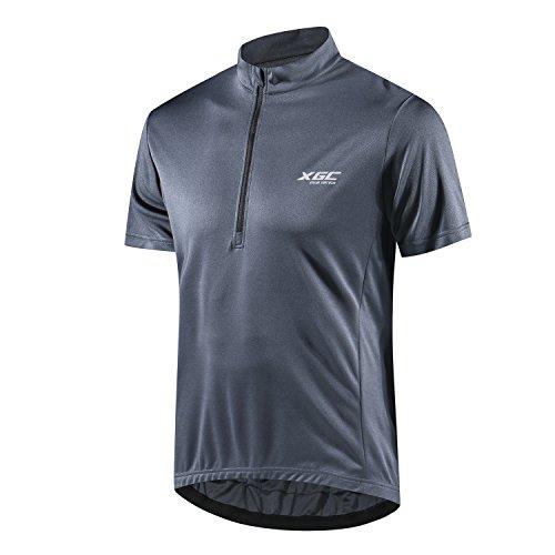 Herren Kurzarm Radtrikot Fahrradtrikot Fahrradbekleidung für Männer mit Elastische Atmungsaktive Schnell Trocknen Stoff 1-2er Packung (Grey, XL)