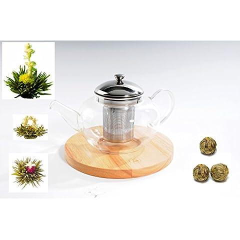 Luxus Laguiole Tea tè teiera in vetro con colino, Edlelstahl coperchio, legno e fiorito Blooming{3} tè fiori Kunglen