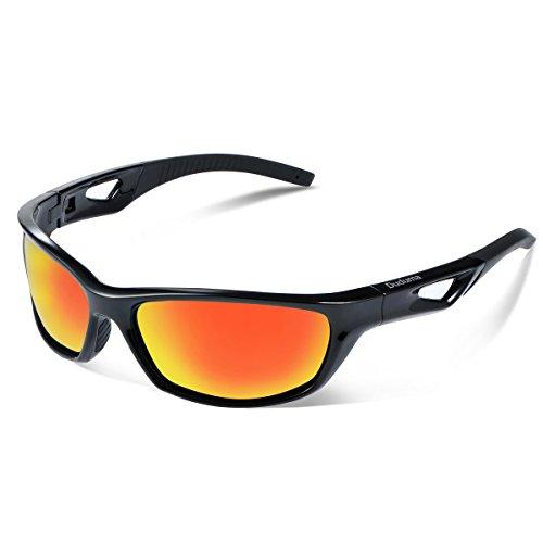 Duduma Gafas de Sol Deportivas Polarizadas Para Hombre Perfectas Para Esquiar Golf Correr Ciclismo TR821 Súper Liviana Para Hombre y Para Mujer (marco negro con lente roja)