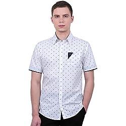 Allegra K Camisa Casual Para Hombres Cuello En Punta Con Botón Mangas Cortas Patrón Del Ancla - Blanco/X-Large (US 46, EU 56)