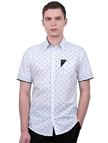 Preisvergleich Produktbild Allegra K Herren Anker Muster Kurzarm Herren Freizeithemd mit Brusttasche,  White / M (EU 48)