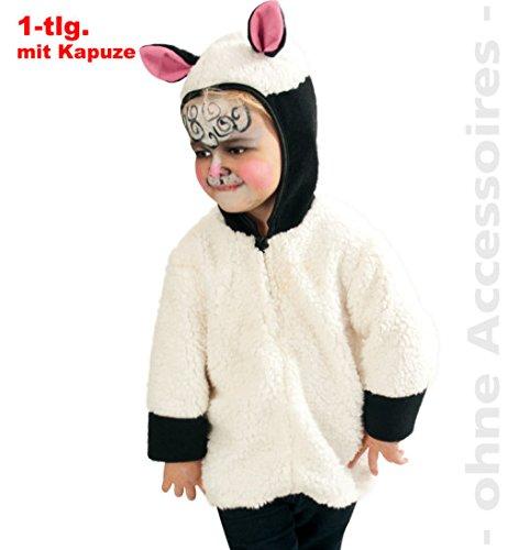 Kostüm Ohren Lamm - narrenwelt Schäfchen Oberteil mit Kapuze und Reißverschluss 98 Plüsch Schaf Tierkostüm 1tlg. Jacke Baby Kleinkind Kinder - Kostüm Babykostüm Kinderkostüm Fasching