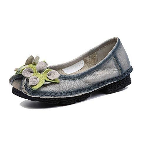 Eagsouni® Femme Vintage Handmade Printemps/Eté Fleur en Cuir Chaussures Mocassins Slip-on Gris