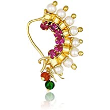 Amaal Traditional Maharashtrian Pink Gold Pearls Banu Nath Nose Rings Jewellery Sets Pearl Gold Wedding for Girls Stylish Women Nose Ring-A7106