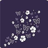 kleb-drauf - 19 Hibiskusblüten, 19 Schmetterlinge und 42 Punkte / Schwarz - matt - Aufkleber zur Dekoration von Wänden, Glas, Fliesen und allen anderen glatten Oberflächen im Innenbereich; aus 19 Farben wählbar; in matt oder glänzend