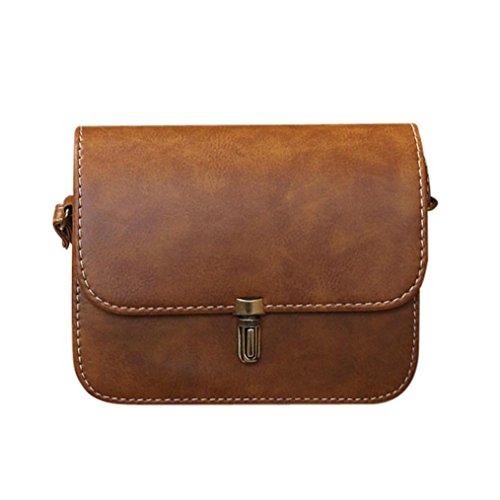 Damen Schultertasche, VJGOAL Dame Mädchen Leder Satchel Handtasche Schultertasche Messenger Crossbody Kleine Tasche Frau Geschenk (20*6*17cm, Braun)