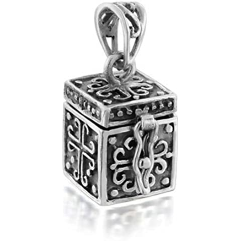 Bling Jewelry Sterling Antique Box Veleno Croce Preghiera del Locket - Veleno Box Locket