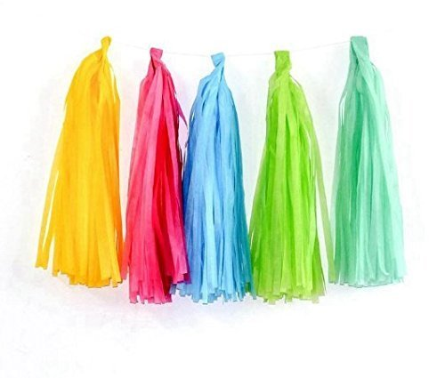 URGrace 50Pcs sortierte Farben Hochzeits-Dekoration-Gewebe-Papier-Troddeln-Girlande-Band-Vorhang Bunting Geburtstags-Party DIY Pom Poms Dekorationen Blumen Babyshower Supplies