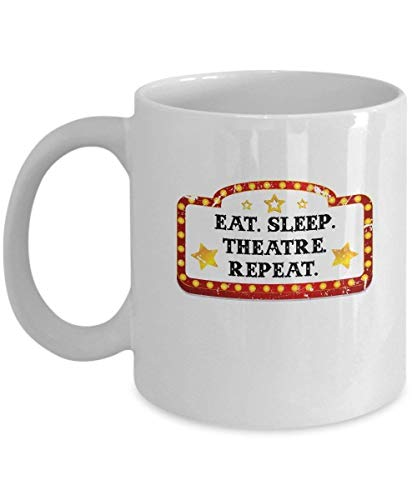 Fgrygf Tea Milk Cup, Novelty Coffee Mugs, Actor Mug Eat Sleep Theatre Repeat Cute Gifts For Artists 11 oz Ceramic - Lip Color Tea Rose
