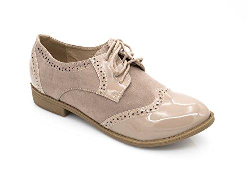 Fashion Shoes Derbies Femmes en Lacet Bi-Maitère - Chaussures Dames Talon Bloc Bas – Richelieu Vernis Et Daim Dentell