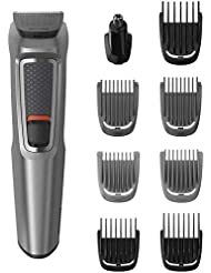 Philips 9-in-1 All-In-One Trimmer, Series 3000 Grooming Kit for Beard & Hair with 9 Attachments, Including Nose Trimmer, Self-Sharpening Blades, UK 3-Pin Plug - MG3722/33