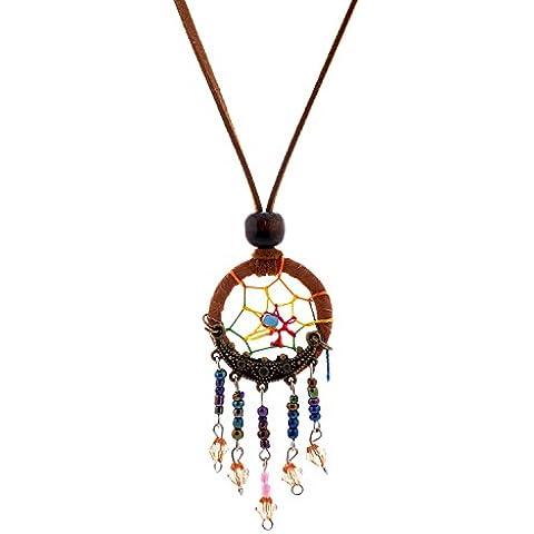Lureme® Cacciatore di sogni Pendant Palla Beads Cluster Dangle Suede Rope Collana(01003546)