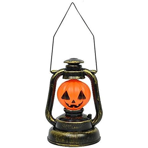 Pumpkin Lamp - Mano di Scheletro Zucca LED Lanterna Jack-O'-Lantern per Halloween / Decorazioni di Natale Della Luce di Cosplay con Effetti Sonori (Zucca)