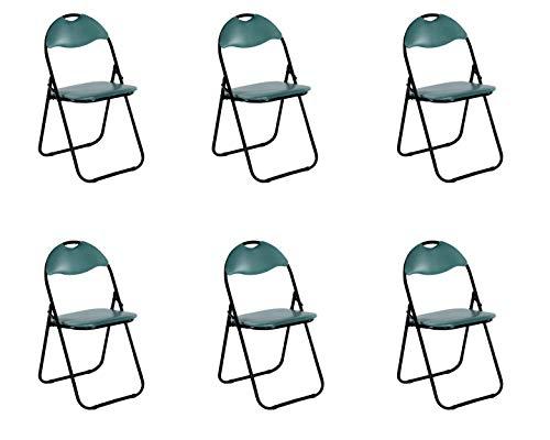 colourliving Küchenstuhl 6er Set Klappstuhl Faltstuhl Gästestuhl Gartenstuhl Metall in schwarz gepolsterte Sitzfläche und Rückenlehne in grün