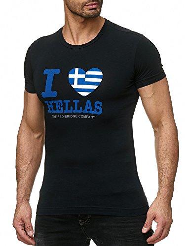 Red Bridge Herren T-Shirt I Love My State Griechenland Schwarz XL