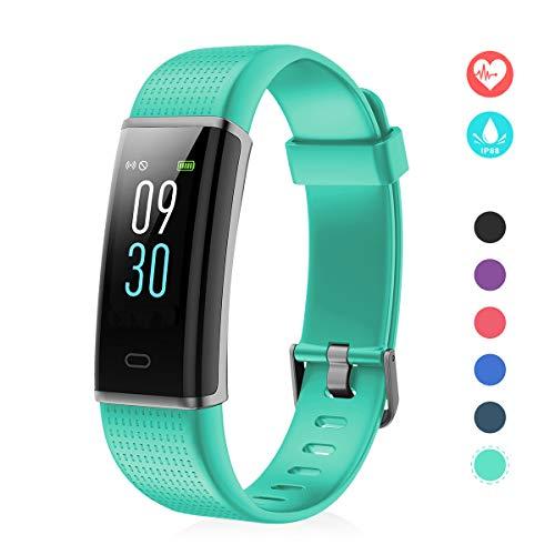 EFO SHM Fitness Tracker mit Pulsmesser, Schrittzähler Uhr Fitness Armband Wasserdicht Schwimmen Aktivitätstracker Schlafanalyse Kalorienzähler Anruf/SMS Kompatibel mit iPhone und Android(Grün) - 4 Blau Iphone Fall Jungen Für