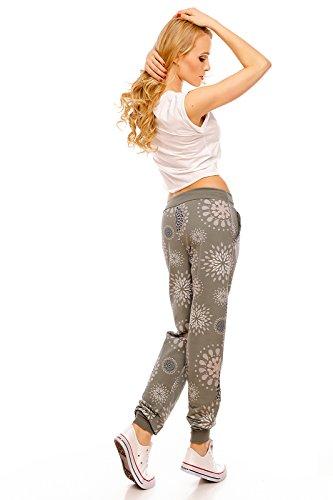 IXPRIME Damen Sweatpants Sweathose Freizeithose Jogger Jogginghose Damenhose Relax Muster Khaki