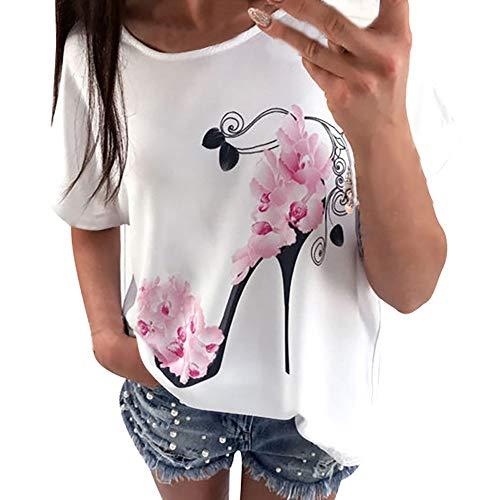 VECOLE Damenbekleidung Damenmode Kurzarm Rundhals High Heel Blütenblatt Print Lose Freizeit T-Shirt Top Shirt(Weiß,M) -