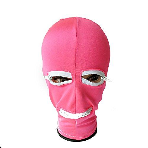 FeiGu BDSM SM Bondage Hood Fetisch Hood Maske Sexspiel Hauben Slave Restraint Maske Halloween Party Kostüm - Pink