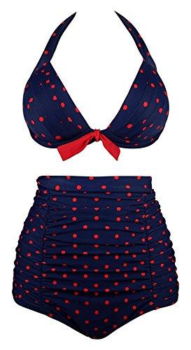Laorchid Rockabilly 50'S Damen Hohe Taillen Bikini Set Bademode Bügellos Audrey Hepburn XXL
