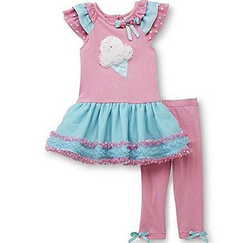 Rare Too Kinder Baby Mädchen Sommer Tunika Kleid + Leggings Hose Ice Eis Tüte türkis rosa (80)