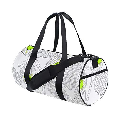 PONIKUCY Borsone Palestra,Sport Bag Illustrazione vettoriale Seamless Pattern Racchette da Tennis,Borsa Sportiva Borsone Viaggio Borsone A Spalla Pieghevole Leggero Duffle Bag