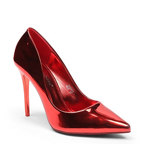 """Ideal ShoesDécolleté classico """"Taly"""", vernice Rosso (rosso)"""