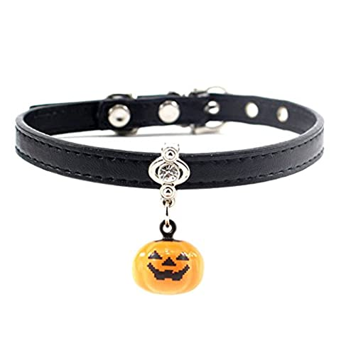 MayAi Halloween Adjustable Leather Cat Collar with Pumpkin Bell and Bling Rhinestone for Kitty, Puppy, Small
