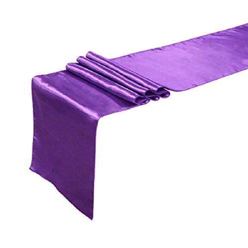 joyliveCY 30 x 250cm Satin Tabelle Runner Hochzeit Empfang Bankett Dekoration Lila