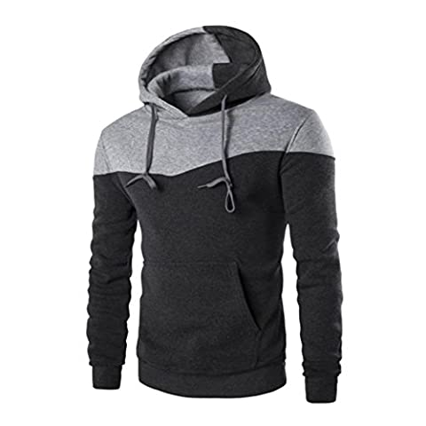 Anglewolf Men Winter Slim Hoodie Warm Hooded Coat Jacket Outwear sweatshirt (L, Dark Gray)