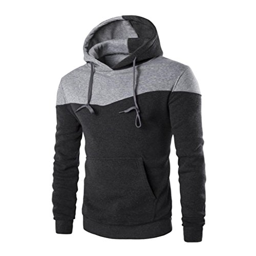 Anglewolf Men Winter Slim Hoodie Warm Hooded Coat Jacket Outwear sweatshirt (L, Dark Gray)