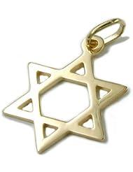 Colgante Estrella de David de{375} oro colgantes lisa unisex