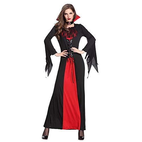 Hexe Kostüm Braut - Damen Vampir Königin Kostüm Halloween Vampirin Hexe Zombie Braut Cosplay Stehkragen Kleid Piebo Frauen Trompete Ärmel Lange Ärmel Dress Weihnachten Karneval Party Rollenspiel Erwachsene Kleider