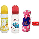 Gilli Shopee Bottle Cover Free With Mee Mee Premium Baby Feeding Bottle, 250ml Pack Of 2 (Red & Yellow)