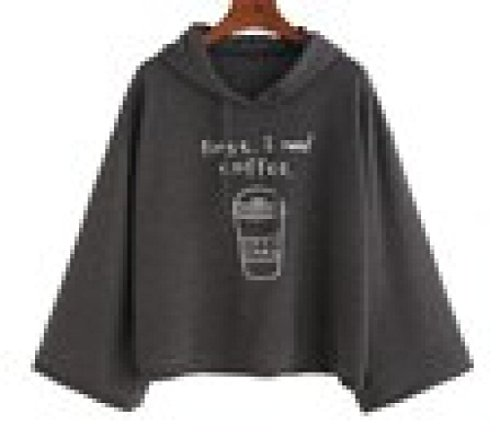 BHYDRY Women Long Sleeve Gray Letter Print Hooded Sweatshirt Pullovers (S,Grau)