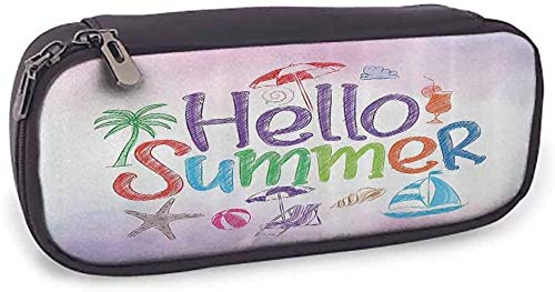 KLKLK Estuche Pencil Bag Lifestyle Hello Summer Motivational Quote with Cocktail Umbrella Palms Starfish Holiday Print with Compartment Lilac