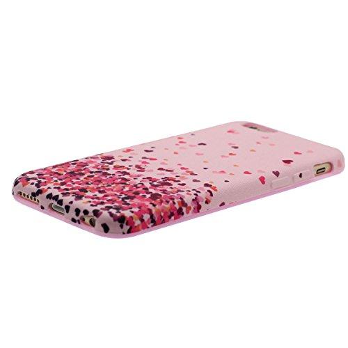 iPhone 6S Plus Coque Mince et léger, Tissu & Plastique Hybride Doux Gel Motif Style Beau Housse de Protection Case pour Apple iPhone 6 Plus / 6S Plus 5.5 inch rose