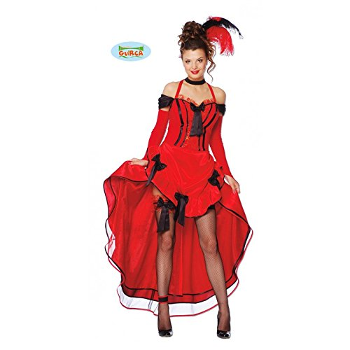 (Sexy Saloon Girl Damen Kostüm mit Kleid in Rot Gr. S - L, Größe:L)