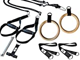 BodyCROSS Premium Schlingentrainer Set mit Turnringen und zusätzlichen Griffen | Ideal für Calisthenics und Turnübungen | inkl. Spacer, Übungsposter, Türanker, Befestigungsschlaufe | Made in Germany