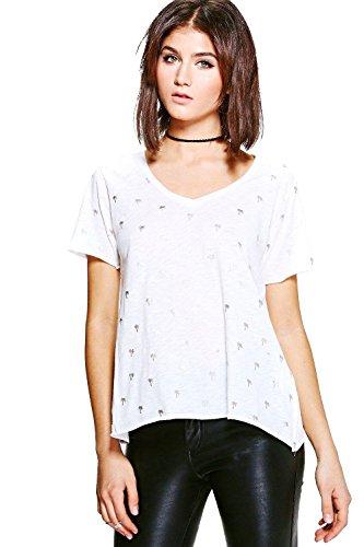 blanc Femmes Molly T-shirt Imprimé Métallique Palmier Effet Flammé Blanc