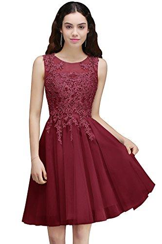 Mädchen Prinzessin V-Ausschnitt Tüll konfirmationskleid Applikation Prom dress Kurz Rückenfrei Wein-Rot 46