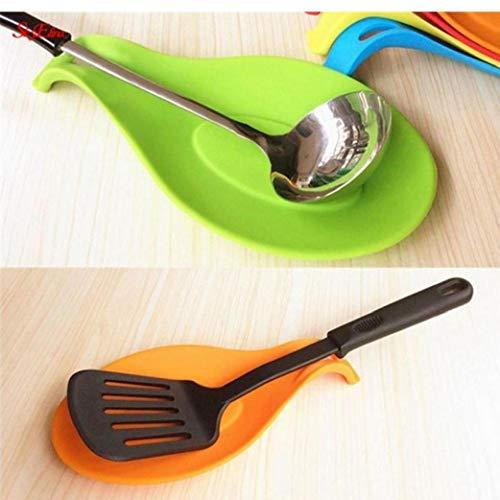 AMOYER Cuchara De Silicona Resto De Cocina con Aislamiento De Silicona Resistente Al Calor De Secado Mat Mantel Cuchara Pad
