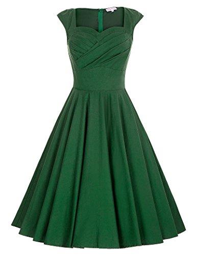 Damen 50s rockabilly kleid sommerkleid a line knielang dress for women Größe XL BP187-4