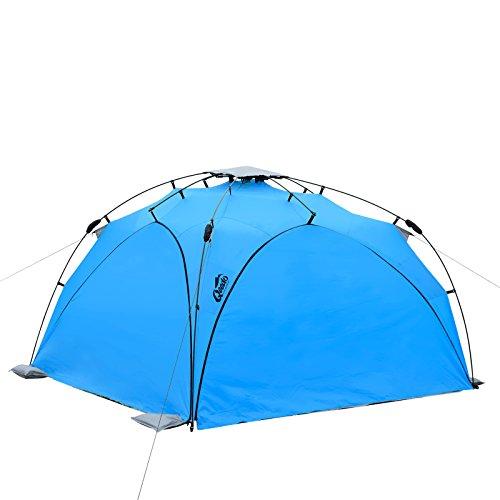 Qeedo Familien Strandmuschel Quick Plane (Set) mit UV-Schutz (Strandpavillon) - blau mit Seitenwänden