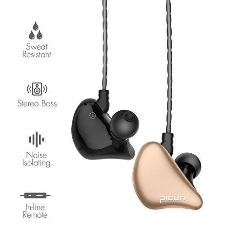 Picun S6 Sport Kopfhörer Ohrhörer mit Mikrofon und Lautstärkeregeler zum Laufen für Fitnessraum, In-Ear Ohrhörer für iPhone / iPod / iPad / Android Geräte (Schwarz Gold) - 2