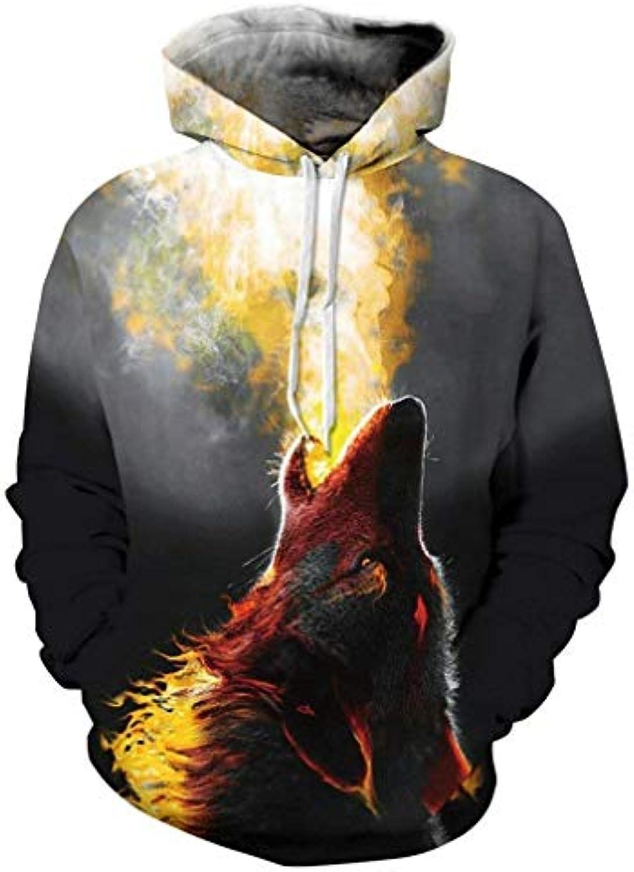 Plus Dimensione Fire Wolf Felpe Print 3D Animal Felpa Cappuccio con Wolf  Mode di Marca Felpa Animal con Cappuccio da Uomo Autunno... 5fe69d 32fbd7c38acc